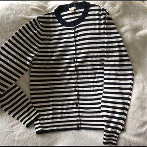 J crew striped caryn cardigan sweater